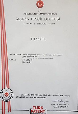 Titan Jel Sağlık Bakanlığı Onayı